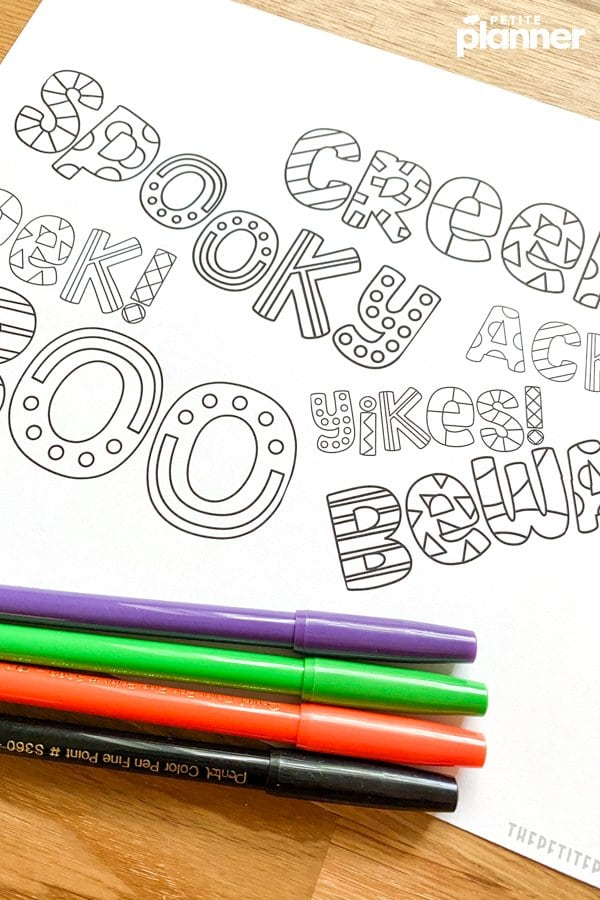 Printable Halloween coloring page with markers