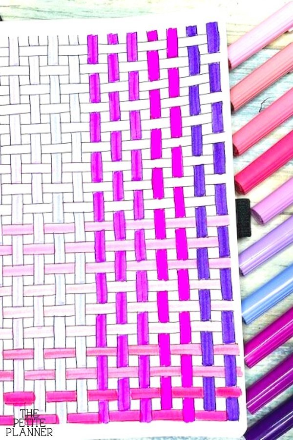 Tutorial for how to draw a basket weave pattern on paper