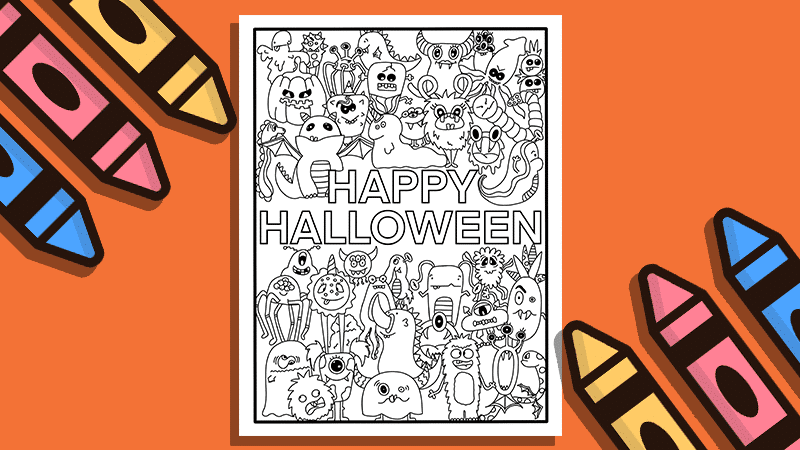 Free Halloween Coloring Page Printable and Monster Doodles Video