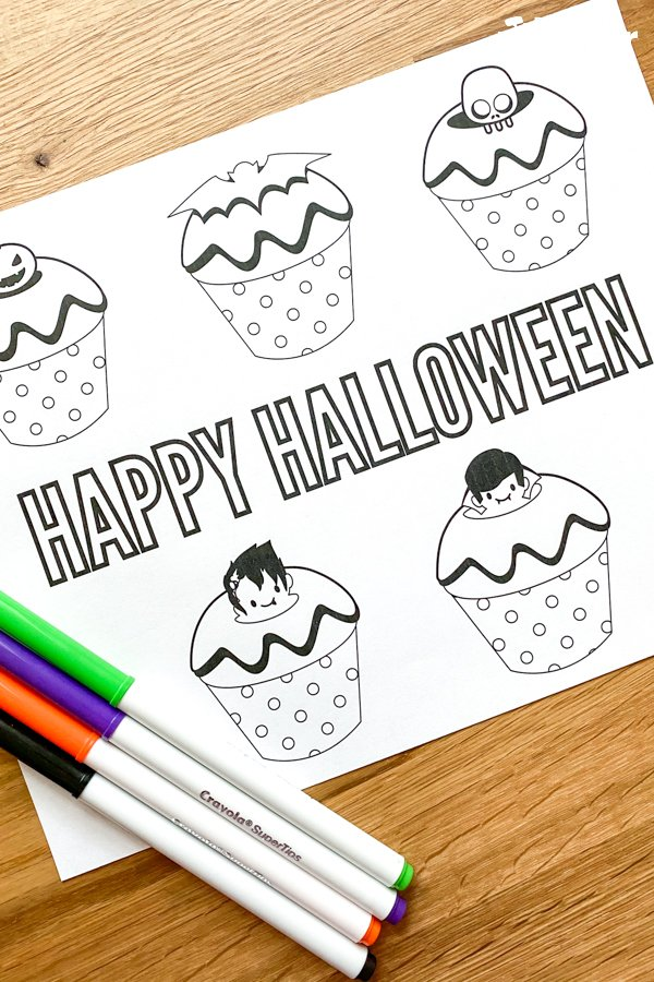Halloween Cupcakes coloring sheet with markers