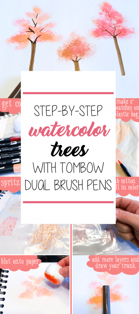Step-by-Step Easy Watercolor Trees with Tombow Dual Brush Pens and a Cotton Ball
