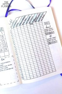 A habit tracker drawn in a bullet journal
