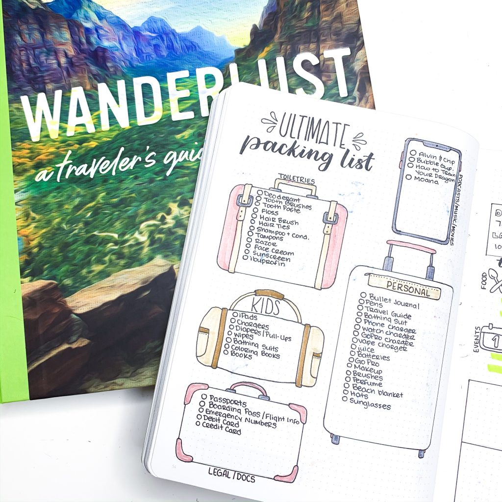 Bullet Journal Packing List for Traveling