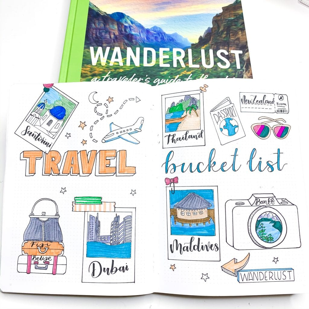 Travel Planning Spreads for Your Bullet Journal: Travel Bucket List