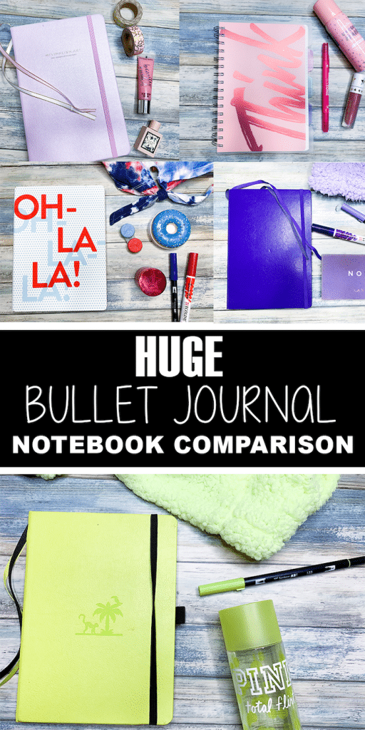 Huge Bullet Journal Notebook Comparison reviewing 10 different notebooks ranging from $10-$45