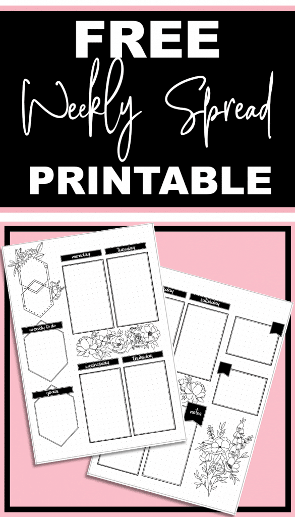 Free Printable Weekly Spread for Your Bullet Journal includes goals, notes, and bonus boxes. Fits A5 size journals.