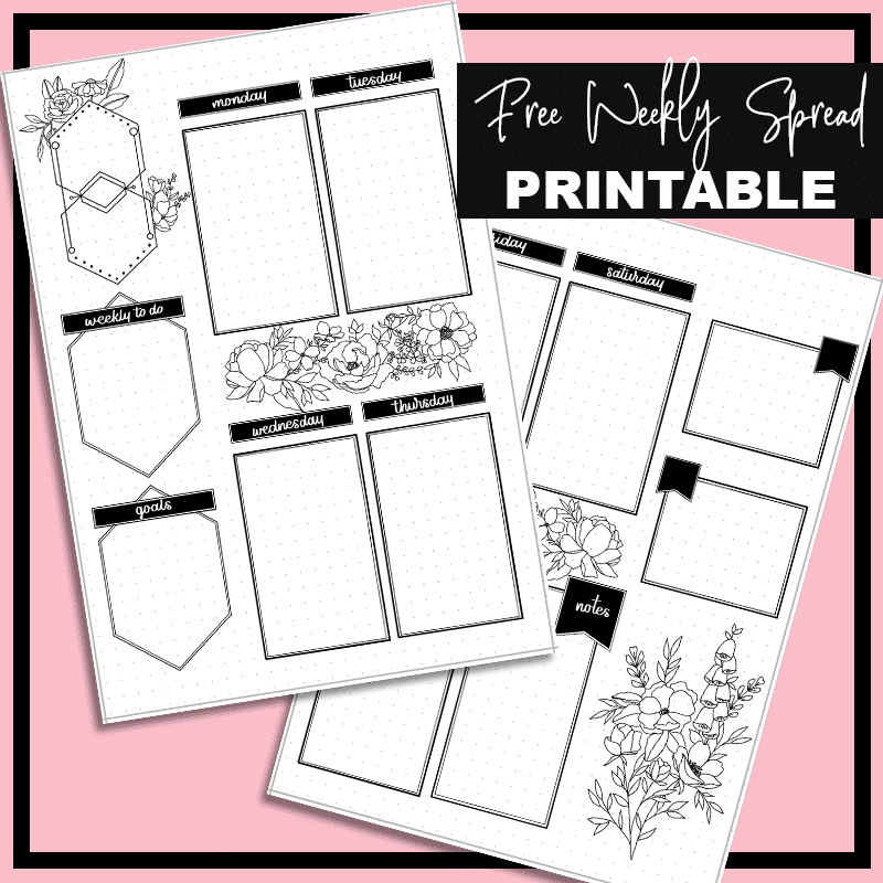 Free Bullet Journal Weekly Spread Printable