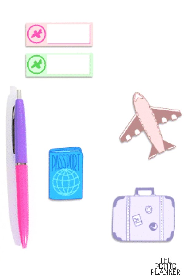 Printable stickers for travel journals and planners