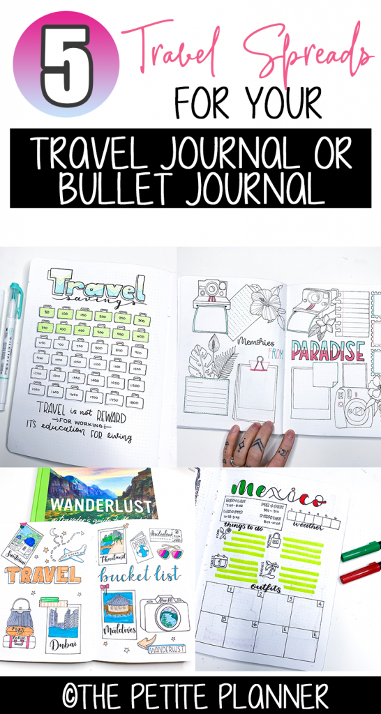 5 Travel Planning Bullet Journal Spreads to Copy for Your Next Vacation. PLUS 2 FREE Printable Travel Spreads.