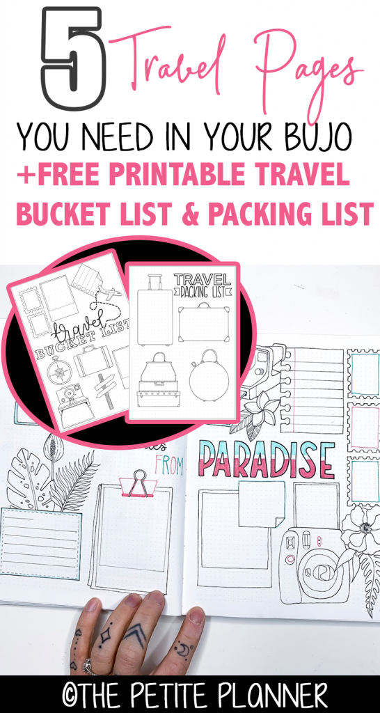 5 Travel Pages PLUS Free Travel Bucket List Printable and Free Packing List Printable