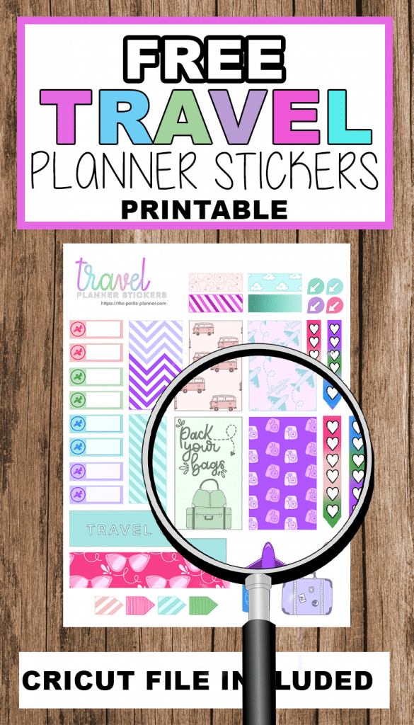 Free Printable Planner Stickers including Transparent PNG file for Cricut cutting. Perfect for Happy Planner Classic.
