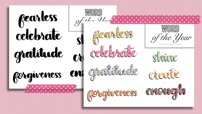 Free Printable Word of the Year in Black and Floral Pattern