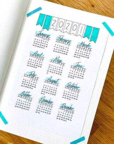 2020 at a glance calendar printable taped into a dot grid bullet journal