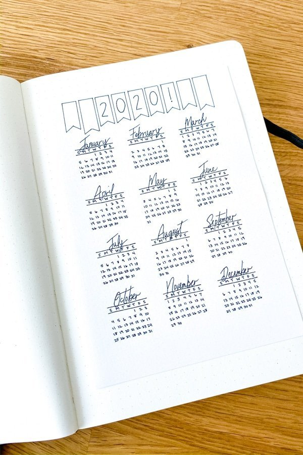 2020 bullet journal year at a glance printable taped into a dot grid journal