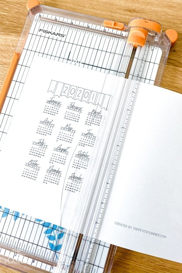 Cutting a printable calendar with a craft paper trimmer