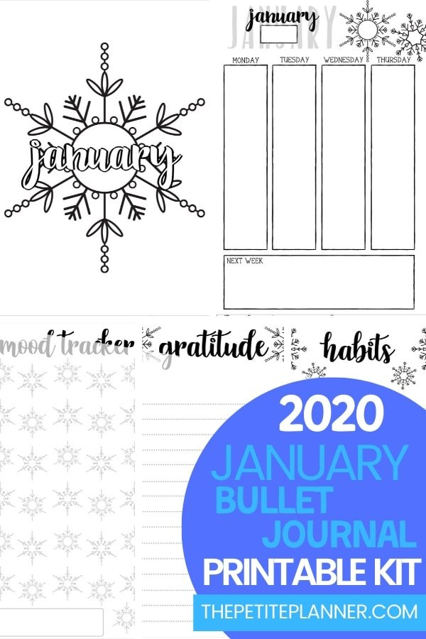 January 2020 Printable Bullet Journal Layout