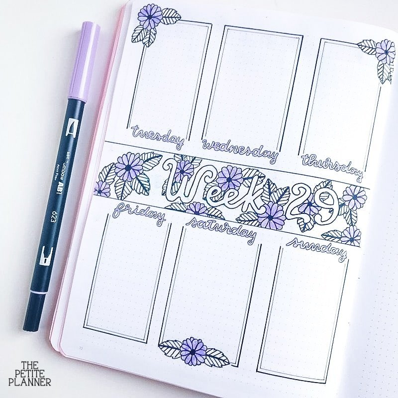 Purple floral bullet journal weekly spread
