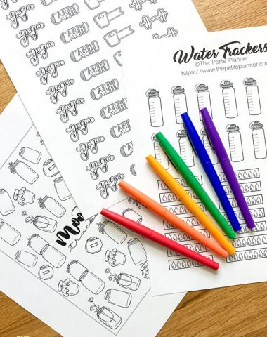 Free Bullet Journal Printables with rainbow colored pens