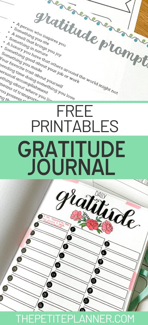Free gratitude journal prompts printable
