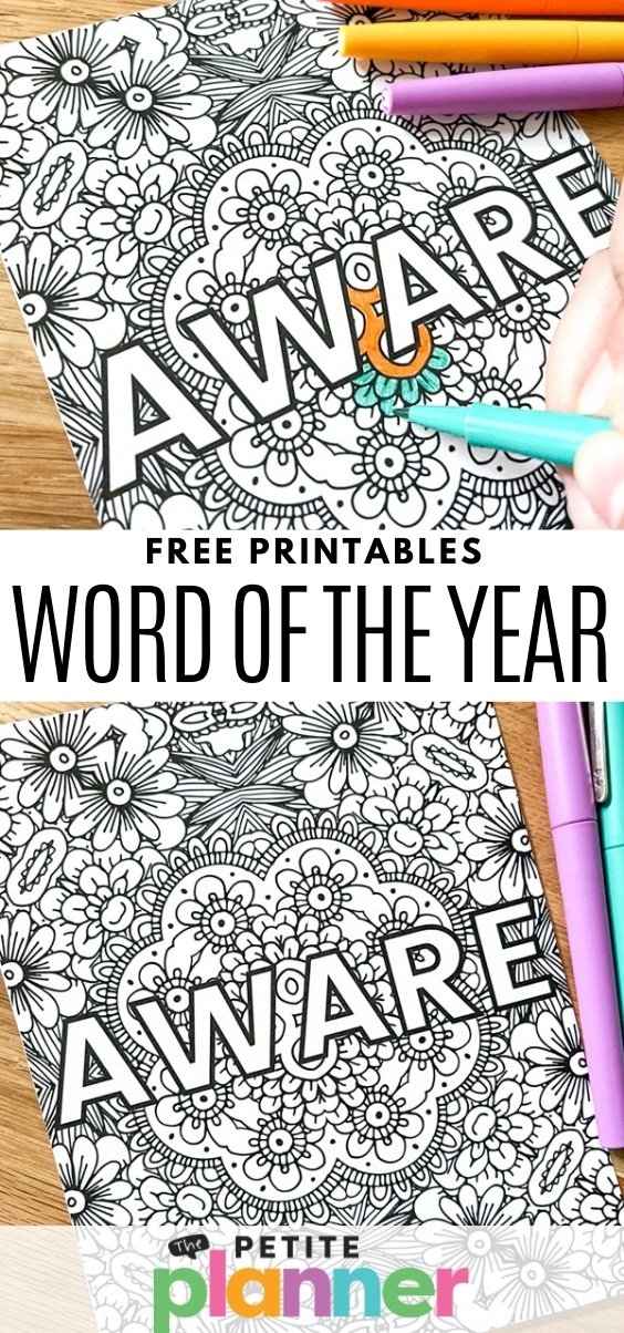 Free Printable Word for the Year pages