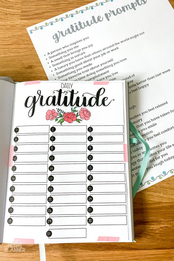 Printable gratitude journal in a bullet journal