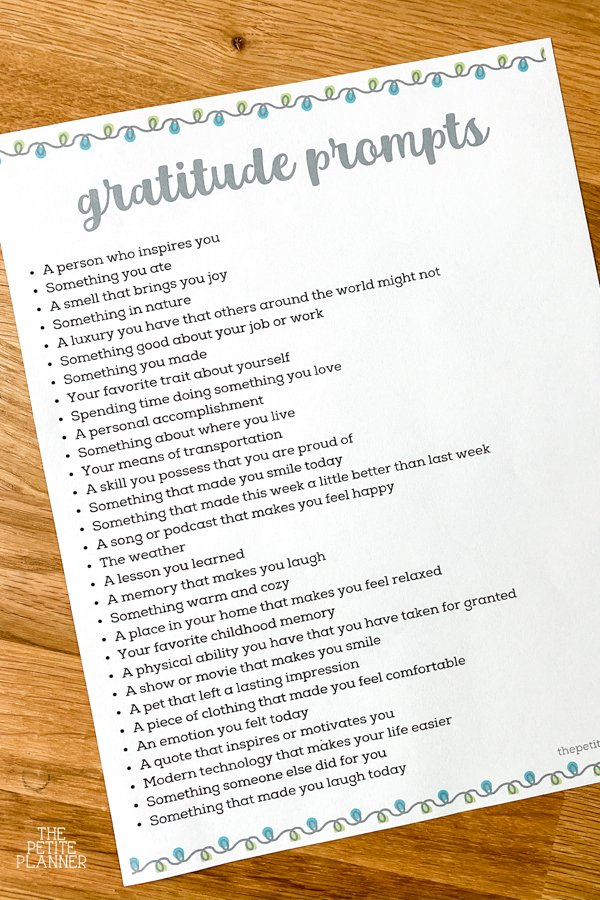 List of gratitude journal prompts