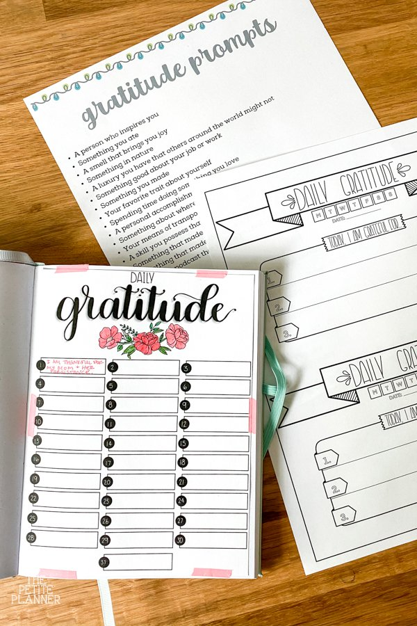 Different gratitude journal options including printables and bullet journal