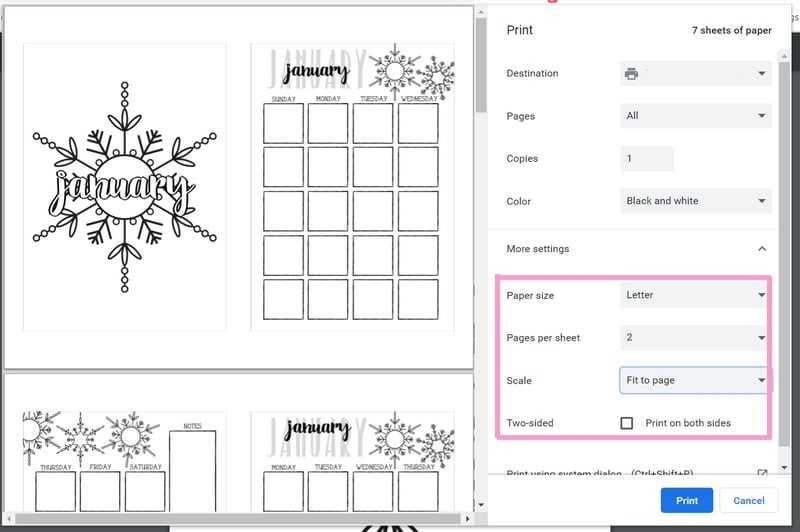 How to Print Bullet Journal Layouts
