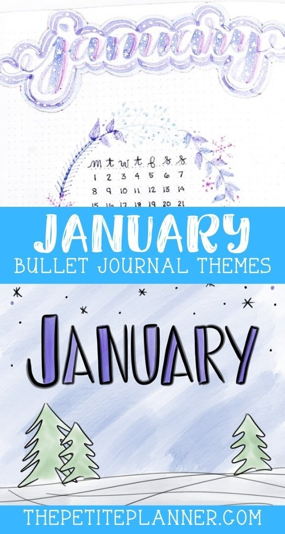 Photos of ideas for bullet journals in the month of January