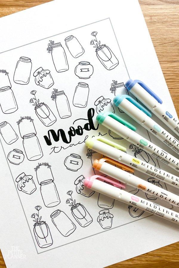 Free Printable Mason Jar Mood Tracker with highlighters
