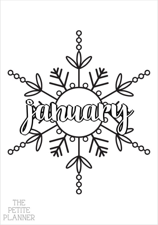Printable page with a snowflake and the word January