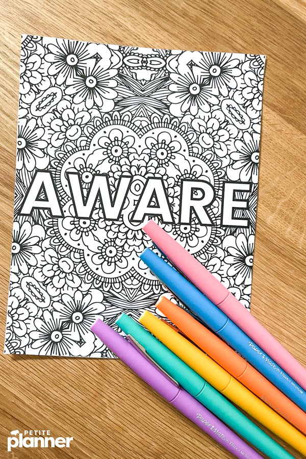 Printable Word of the Year coloring page