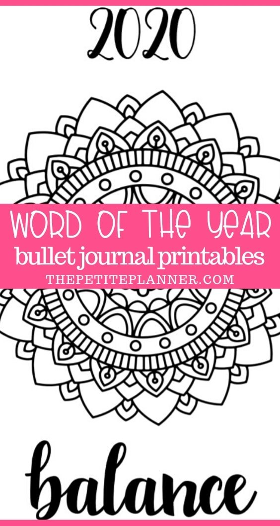 Free Printable 2020 Word of the Year pages for Bullet Journals