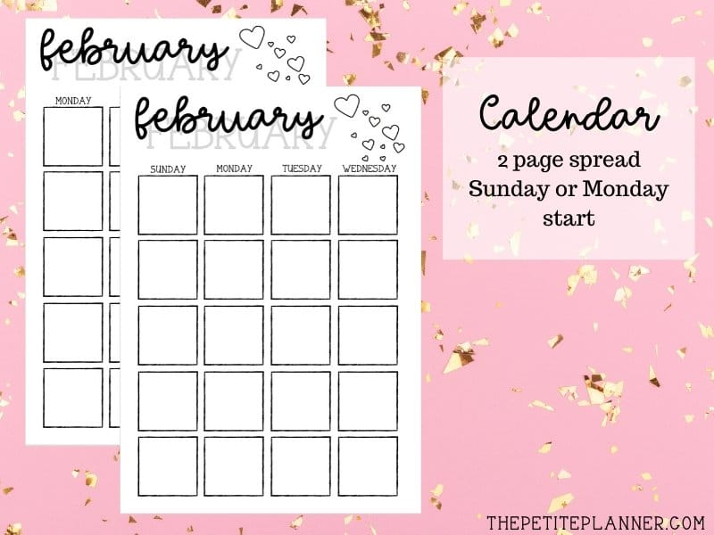 February Printable Monthly Calendar Spread