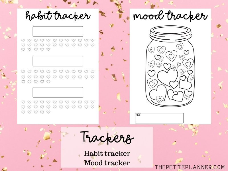 Heart Themed Habit Tracker and Mood Tracker Printables