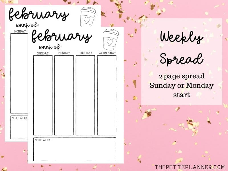 February Printable Weekly Bullet Journal Layout