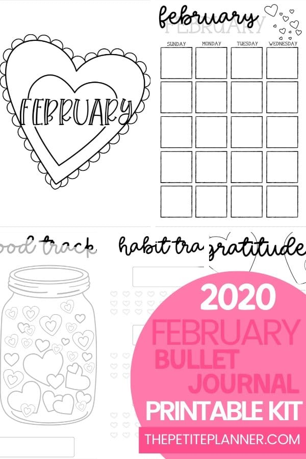 Printable Bullet Journal Layout for February 2020