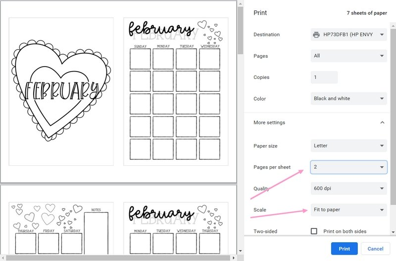 Directions for how to print The Petite Planner February 2020 Printable Bullet Journal Theme