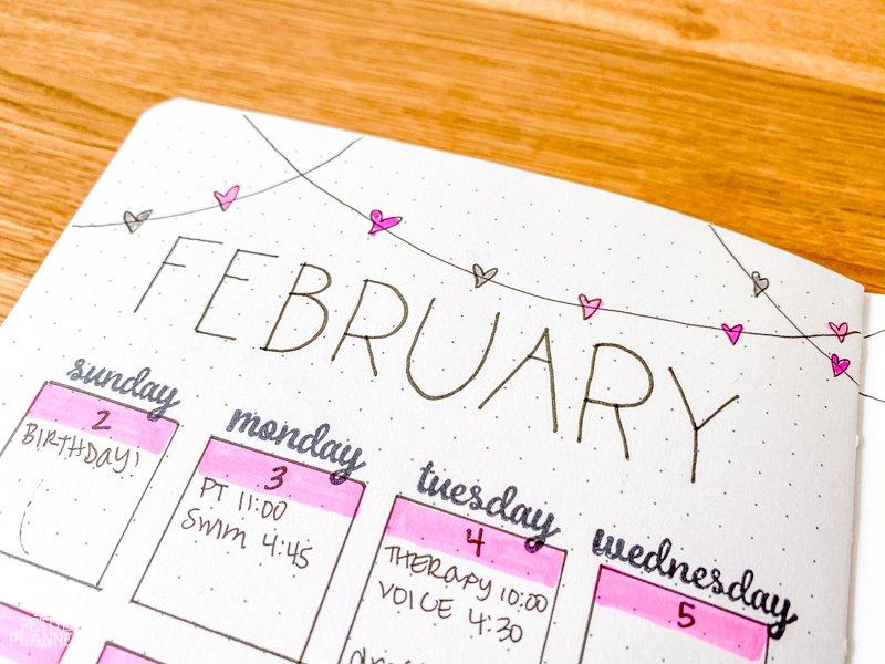 Heart Themed February Bujo
