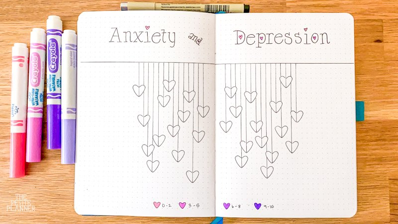 Heart Themed Anxiety and Depression Mood Tracker