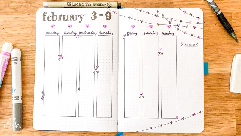 February Weekly Bullet Journal Spread