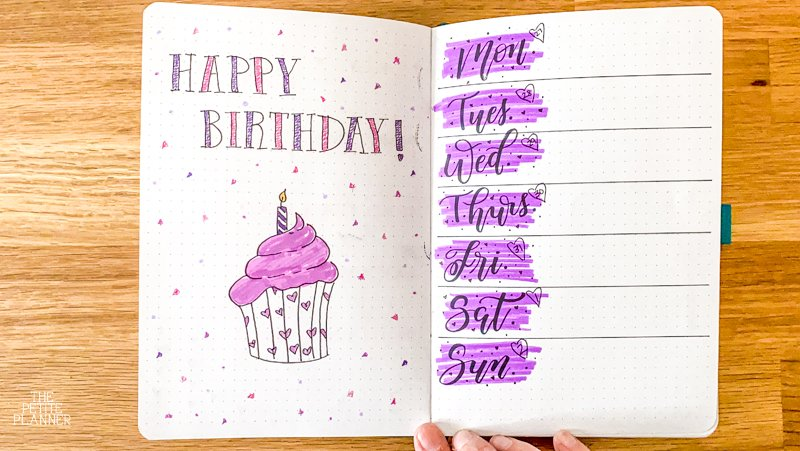 Happy Birthday spread for bullet journal