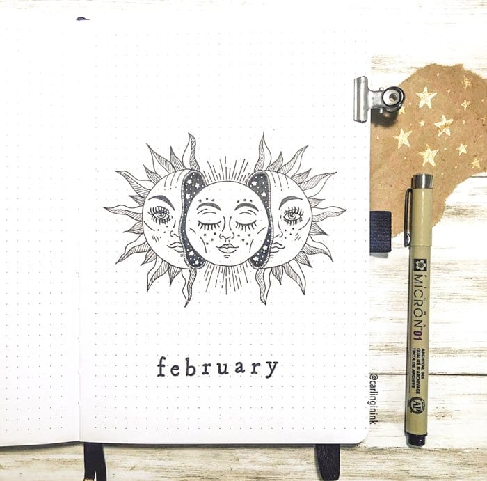Sun and moon bullet journal monthly cover page