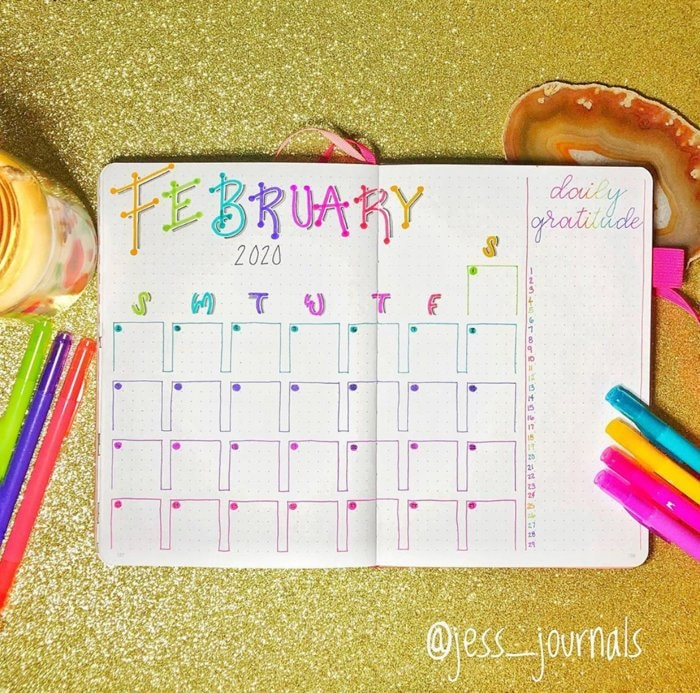 February Bujo Spread Example