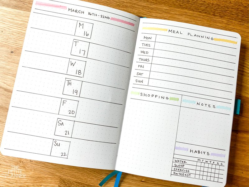 Minimalist Bullet Journal Weekly Layout