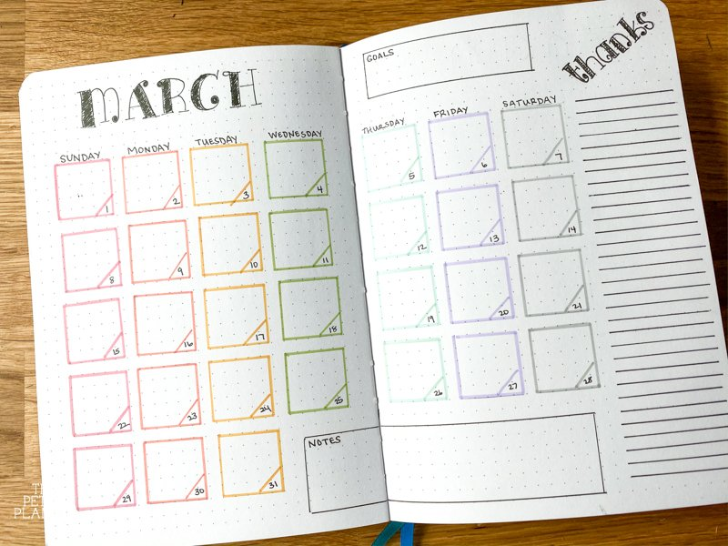 Monthly Bullet Journal Layout for March with Rainbow colors