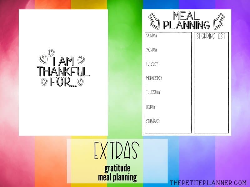 Rainbow Theme Meal Planning Planner Page