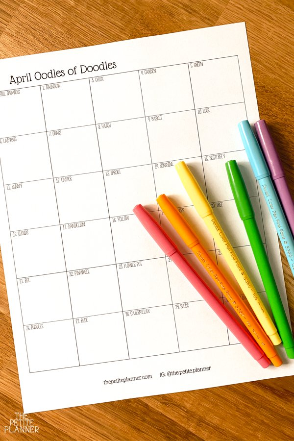 Printable doodle a day challenge for April