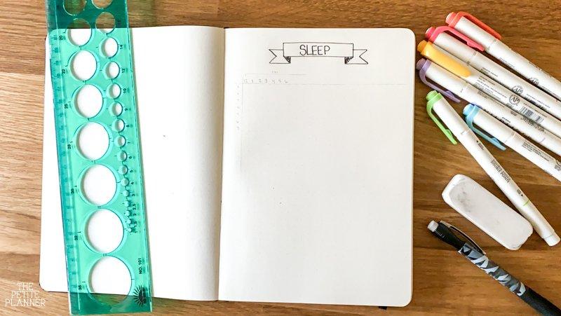 Supplies to make a bullet journal sleep log