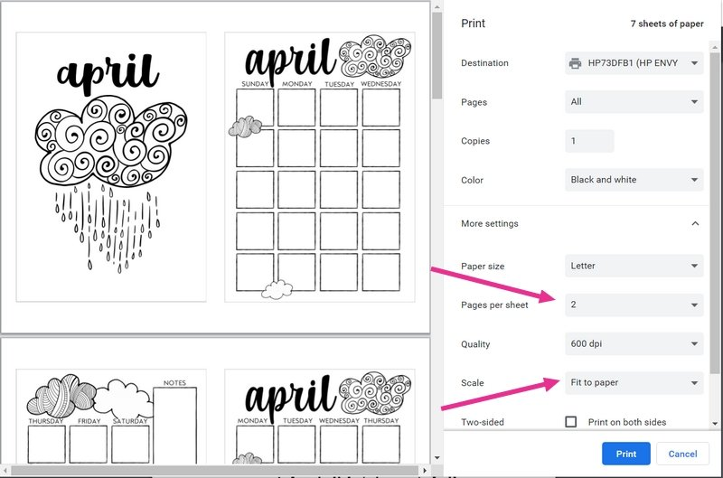 Directions for how to printable April Bullet Journal Theme from The Petite Planner